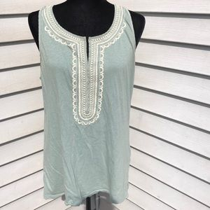 🌿 J. Crew M embroidered green tank top